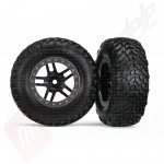 Roti complete, jante SCT split-spoke black cu anvelope SCT off-road racing automodele TRAXXAS Slash